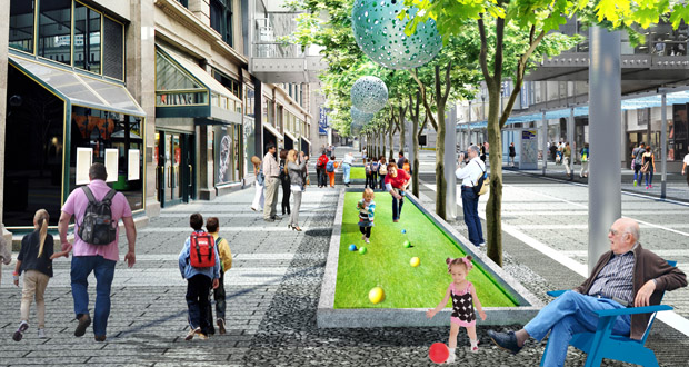 """The new Nicollet Mall will include an """"art walk"""" between Sixth and Eighth streets. The city is seeking emerging artists to work on public art concepts for the feature. (Submitted rendering: James Corner Field Operations)"""