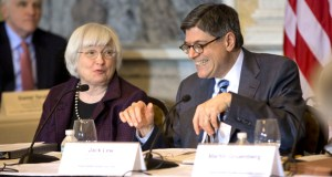 Treasury Secretary Jacob Lew, right, smiles as he talks with Federal Reserve Chair Janet Yellen on Wednesday during the open session of the Financial Stability Oversight Council at the Treasury Department in Washington. Lew has urged Congress to focus on business taxes rather than those paid by top individual earners. (AP Photo: Pablo Martinez Monsivais)