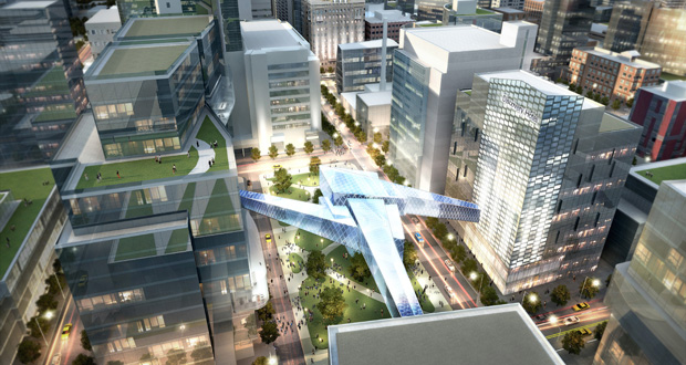 Discovery Square, a biomedical and technology research park, was suggested as the starting point for the Destination Medical Center project in Rochester. (Submitted rendering: Destination Medical Center Corporation)