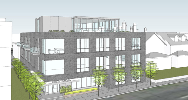CPM Cos. is planning a four-story, mixed-use building at 1708 and 1714 W. Lake St. in Minneapolis, just east of the 1800 Lake building (left). (Submitted rendering: Peterssen/Keller Architecture)