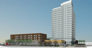 Illinois-based Lennar Multifamily Communities is proposing about 250 apartments in an 18-story tower and a shorter, mixed-used building on the northeast quadrant of First Avenue and University Avenue in Minneapolis. (Submitted rendering: ESG Architects)