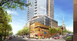 Schafer Richardson plans to preserve two of the four existing Nye's Polonaise buildings and incorporate them into a 29-story, 189-unit apartment tower at 116 E. Hennepin Ave. in Minneapolis. (Submitted rendering: ESG Architects)