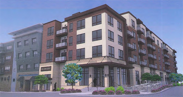 Developer 501 on First LLC has proposed a five-story, 84-unit apartment building on the southeast quadrant of Fifth Street and Second Avenue Southwest in downtown Rochester. (Submitted rendering: CRW Architects)