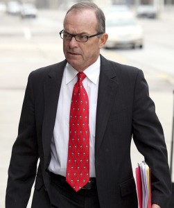 Tim Blixseth arrives April 29, 2009, at the federal courthouse in Missoula, Montana. Montana revenue officials say the one-time billionaire and Yellowstone Club founder owes almost $74 million in back taxes, penalties and interest, primarily on a $375 million loan to the luxury resort near Big Sky that he diverted for personal use. (AP file photo)