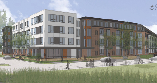 The city of Minneapolis is considering providing tax increment financing for Wellington's planned affordable housing project at 3120 24th Ave S. near the Lake Street Station on the Blue Line light rail transit route.  (Submitted rendering: Collage Architects)