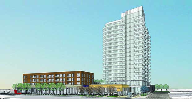 Illinois-based Lennar Multifamily Communities wants to build a 250-unit apartment tower and a shorter mixed-used building on the former Superior Plating site on the northeast corner of First Avenue Northeast and University Avenue in Minneapolis. More than 1,000 units are proposed in the northeast submarket, says developer Kelly Doran. (Submitted rendering: ESG Architects)