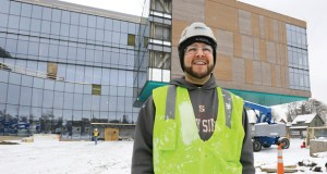 Carlos Morales has worked on a variety of construction projects in his two-and-a-half years as an apprentice, most recently at this site on the University of Minnesota's East Bank campus in Minneapolis, where the $165 million Ambulatory Care Center is taking shape. (Staff photo: Bill Klotz)