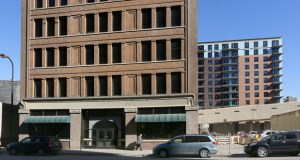 The office building at 312 Third St. S. in Minneapolis is immediately south of the 319-unit Latitude 45 apartments (background). Ryan Cos. paid a little more than $4 million for the 109-year-old downtown property last month. (Staff photo: Bill Klotz)