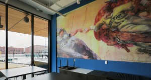 The new Saints ballpark offers some eye-catching art, including this suite with a mural that appears to be inspired by the Sistine Chapel. (Staff photo: Bill Klotz)