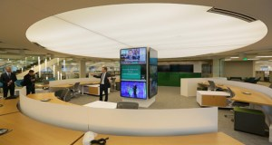 """A """"news hub"""" with TV monitors is the nerve center of the new Star Tribune headquarters space in the Capella Tower complex in downtown Minneapolis. (Staff photos: Bill Klotz)"""