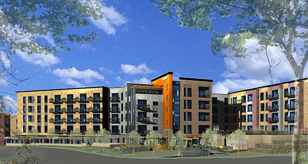 Developer Mark Lambert of Stillwater-based Summit Management and Bloomington-based Doran Cos. began construction this week on the 142-unit BlueStone Flats at 133 Summit St. in Duluth. The $25 million project is the second phase of BlueStone Commons, a mix of apartments, shops and restaurants east of Woodland Avenue. (Submitted image: Summit Management)