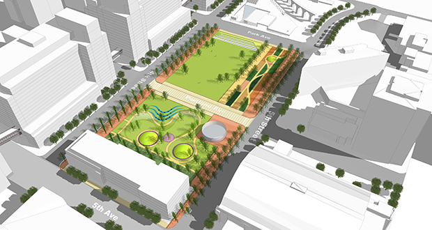 A preliminary design for the Downtown East Commons shows what could replace the longtime Star Tribune headquarters and a large parking area on a 4.2-acre plot between Park Avenue, Fourth and Fifth streets and Fifth Avenue.(submitted image: City of Minneapolis)