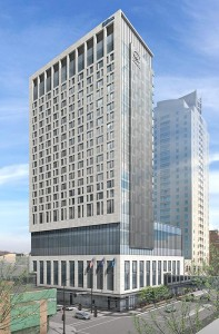 The 23-story Broadway at Center project is set to rise in downtown Rochester, at the corner of South Broadway Avenue and East Center Street. Project plans include 264 hotel rooms, 33 luxury apartments and a five-floor parking structure. (Submitted rendering: HGA Architects and Engineers)