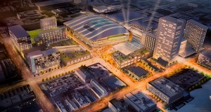 A rendering of a proposed new Milwaukee Bucks basketball arena is shown Wednesday during a press conference in Milwaukee. (AP Photo: Jeffrey Phelps)