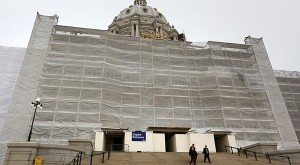 Gov. Dayton's bonding proposal includes $20 million for additional State Capitol fixes, including repairs to these stairs on the building's south side. (File photo: Bill Klotz)