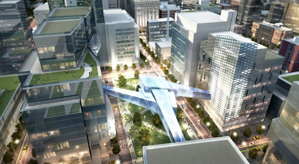 Now that the Destination Medical Center Corp.'s board and Rochester City Council have approved a 700-page framework for development, the massive project is officially underway. (Submitted rendering: Destination Medical Center Corp.)