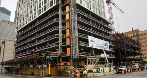 Mortenson Development's 262-unit 4Marq tower, at the corner of Marquette Avenue and Fourth Street South in Minneapolis, is set to open later this year. (File photo: Bill Klotz)
