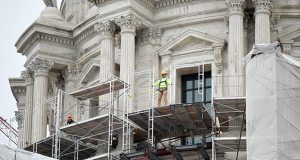Work continues Wednesday on the Minnesota State Capitol's restoration project in St Paul. (Photo: Craig Lassig)