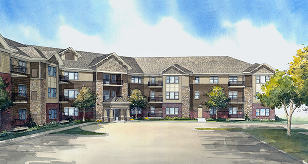 Ron Clark Construction is planning to build Carver Crossing, a 68-unit workforce housing complex near the Carver transit station. The outlook for a new program to encourage similar developments in greater Minnesota is unclear after Gov. Mark Dayton vetoed a jobs bill including $4 million meant to get the initiative off the ground. (Submitted rendering)