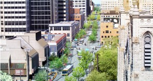 A rendering shows a portion of the revamped Nicollet Mall with added trees, space for pedestrians and a future streetcar line. (Submitted rendering: James Corner Field Operations)