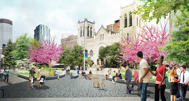 The latest plans for the Nicollet Mall redesign incorporate new green space, including plaza areas at both ends of mall with denser trees and sitting areas. (Submitted rendering: James Corner Field Operations)