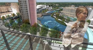 This is the potential view from a residential tower overlooking Waterfront Square in an early design for the Destination Medical Center project in Rochester. The project has touched off a steady stream of developer interest in the city, and officials worry the city's planning staff can't keep up. (Submitted image)