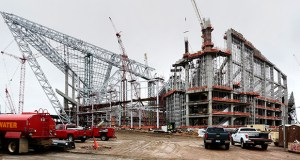 The new Vikings stadium, as seen from Chicago Avenue, is about 52 percent complete through April. Roughly $430 million worth of construction has been completed, according to Mortenson Construction. (Staff photo: Bill Klotz)