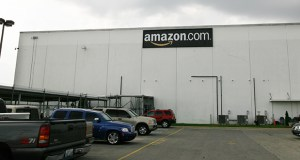 This file photo shows the exterior of the Amazon warehouse in Campbellsville, Kentucky. With a green light from the Shakopee City Council, the city and Scott County can tap into a $5.8 million subsidy for road and other infrastructure work tied to a new Amazon distribution facility at the southeast corner of Highway 101 and Shenandoah Drive. (File photo: John Sommers II/Getty Images)