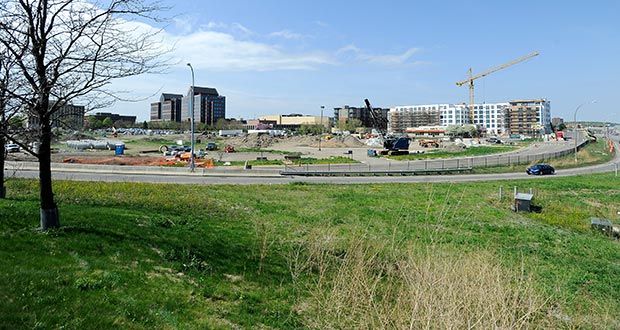 The 14 undeveloped acres on the southwest quadrant of Highway 100 and Interstate 394 in St. Louis Park and Golden Valley are used primarily for construction staging. The northern part of the site (right) will be developed as a hotel. (Photo: Craig Lassig)