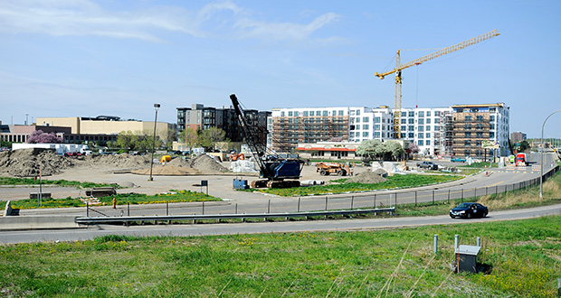 The 13.5-acre site at the southwest quadrant of Highway 100 and Interstate 394 in Golden Valley and St. Louis Park is planned for development as apartments, a hotel and two office towers. (Photo: Craig Lassig)