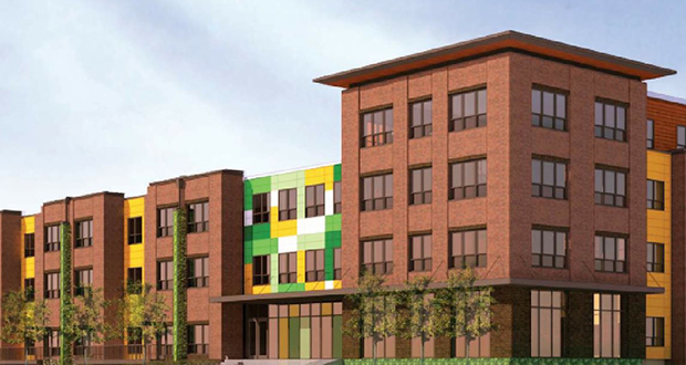 A new affordable apartment building planned in the Hawthorne EcoVillage in north Minneapolis will offer 71 units ranging from efficiencies to three-bedrooms. (Submitted rendering: UrbanWorks Architecture)