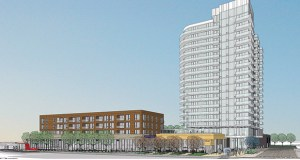 Illinois-based Lennar Multifamily Communities, an arm of Florida-based homebuilder Lennar Corp., plans to build a 250-unit apartment tower and a shorter mixed-used building on the former Superior Plating site on the northeast corner of First Avenue Northeast and University Avenue in Minneapolis. (Submitted rendering: ESG Architects)