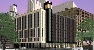 Mortenson plans a $48 million, 244-room AC Hotel by Marriott on the site at 401 Hennepin Ave. S. in Minneapolis. (Submitted image: ESG Architects)