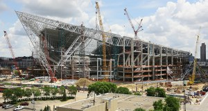 The $1.08 billion Vikings stadium is taking shape in downtown Minneapolis. Construction is nearly 60 percent complete and on schedule to wrap up in about a year, according to Golden Valley-based Mortenson Construction. (Staff photo: Bill Klotz)