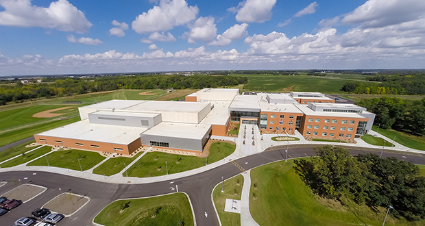 Sitting on a 167-acre previously undeveloped site, the school contains two three-story academic wings, commons and collaboration areas, a stadium, athletic fields and a performing arts wing with a 1,000-seat auditorium. (Submitted image: Corey Gaffer Photography)