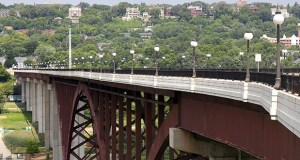 The 28-year-old Smith Avenue High Bridge is about 160 feet above the Mississippi River in St. Paul. The Minnesota Department of Transportation plans to reconstruct the bridge's deck as part of a $20 million project. (Staff photo: Bill Klotz)
