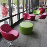 The library's reading sections overlooking Hennepin Avenue and The Mall give readers a place to read by natural light and look up to glimpse life outside.