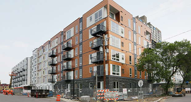 The 259-unit Five15 on the Park mixed-income apartment complex in Minneapolis is set to welcome tenants Oct. 1. The apartments, about half of which are considered affordable housing, are near the Cedar-Riverside Station on the Blue Line and the Riverside Plaza. (Staff photo: Bill Klotz)