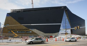 Exterior work is nearing completion on the east side of new Vikings stadium. (Staff photo: Bill Klotz)