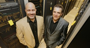 From left: Jim Wolford, CEO and owner of Atomic Data, and Blake Talley, director of the company's Network Operations Center, leased 15,000 square feet in the former Federal Reserve Bank of Minneapolis building. (Staff photo: Bill Klotz)