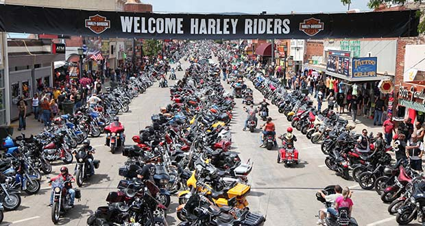 In this Aug. 3, 2014, photo, motorcycles and their riders line the streets of downtown Sturgis, South Dakota, for the annual Sturgis Motorcycle Rally. (AP file photo: Rapid City Journal)