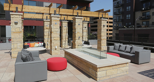 "VELO's outdoor ""Sky Deck"" features grills, seating, games and two showers for cooling off. (Staff photos: Bill Klotz)"