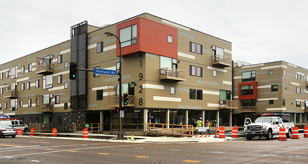 Thirty funders backed the 90-unit Rose mixed-income complex, at 1920-1928 Portland Ave. in Minneapolis, which is being touted as one of the most energy-efficient apartment projects ever built in the nation. (Staff photo: Bill Klotz)