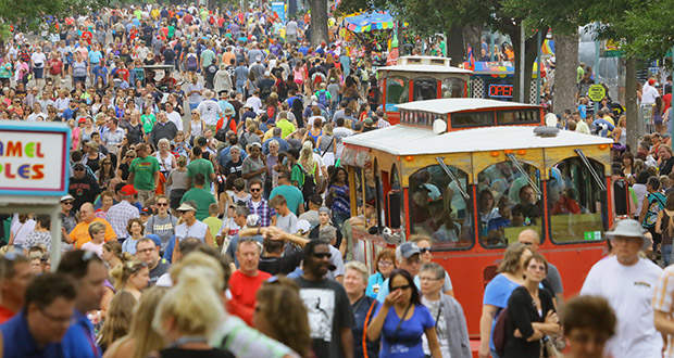 More than 6,300 people attending the 12-day Minnesota State Fair completed the House of Representatives poll, and 4,600 filled-out the Senate's questionnaire. In this photo, people fill the fairgrounds on Aug. 27. (Staff photo: Bill Klotz)