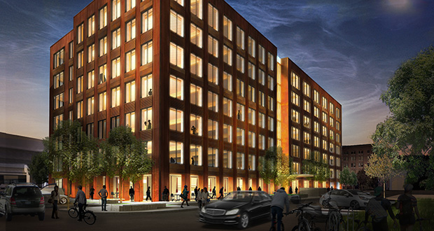 The seven-story T3 building, under construction on the southwest quadrant of Washington Avenue and Third Street North, will include ground-floor retail space, with offices on floors two through seven. (Submitted rendering: Hines Interests)