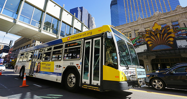 Metro Transit is looking to Hennepin Avenue to provide a stable route for buses being detoured off of Nicollet Mall during reconstruction. The number of routes traveling along Hennepin Avenue will more than double after Nov. 7, when buses are detoured off Third Avenue. (credit: Bill Klotz)