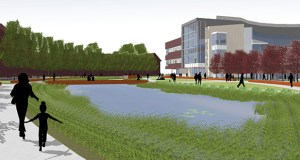 This rendering of Augsburg College's planned $73 million Norman and Evangeline Hagfors Center for Science, Business and Religion was released earlier this year. The school says updated designs will be due in early December. Submitted image: Augsburg College