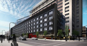 Ryan Cos. US Inc. plans to build a five-story, 164-room Radisson Red hotel for a parcel lining the north side of one of its office towers for Wells Fargo, on the southwest quadrant of Park Avenue and Third Street South. Submitted rendering: ESG Architects