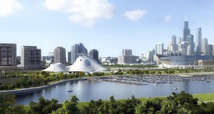 This artist rendering released by the Lucas Museum of Narrative Art shows the proposed museum, left center, in Chicago. On Wednesday, the Chicago City Council approved plans for filmmaker George Lucas' proposed museum. AP rendering: Lucas Museum of Narrative Art