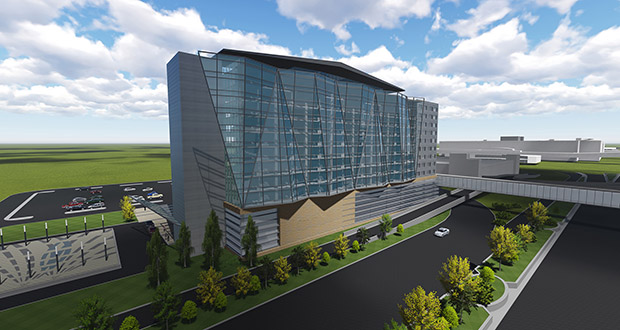 The Metropolitan Airports Commission on Monday granted environmental approvals for this proposed 12-story hotel at the Minneapolis-St. Paul International Airport. (Submitted rendering: RSP Architects)